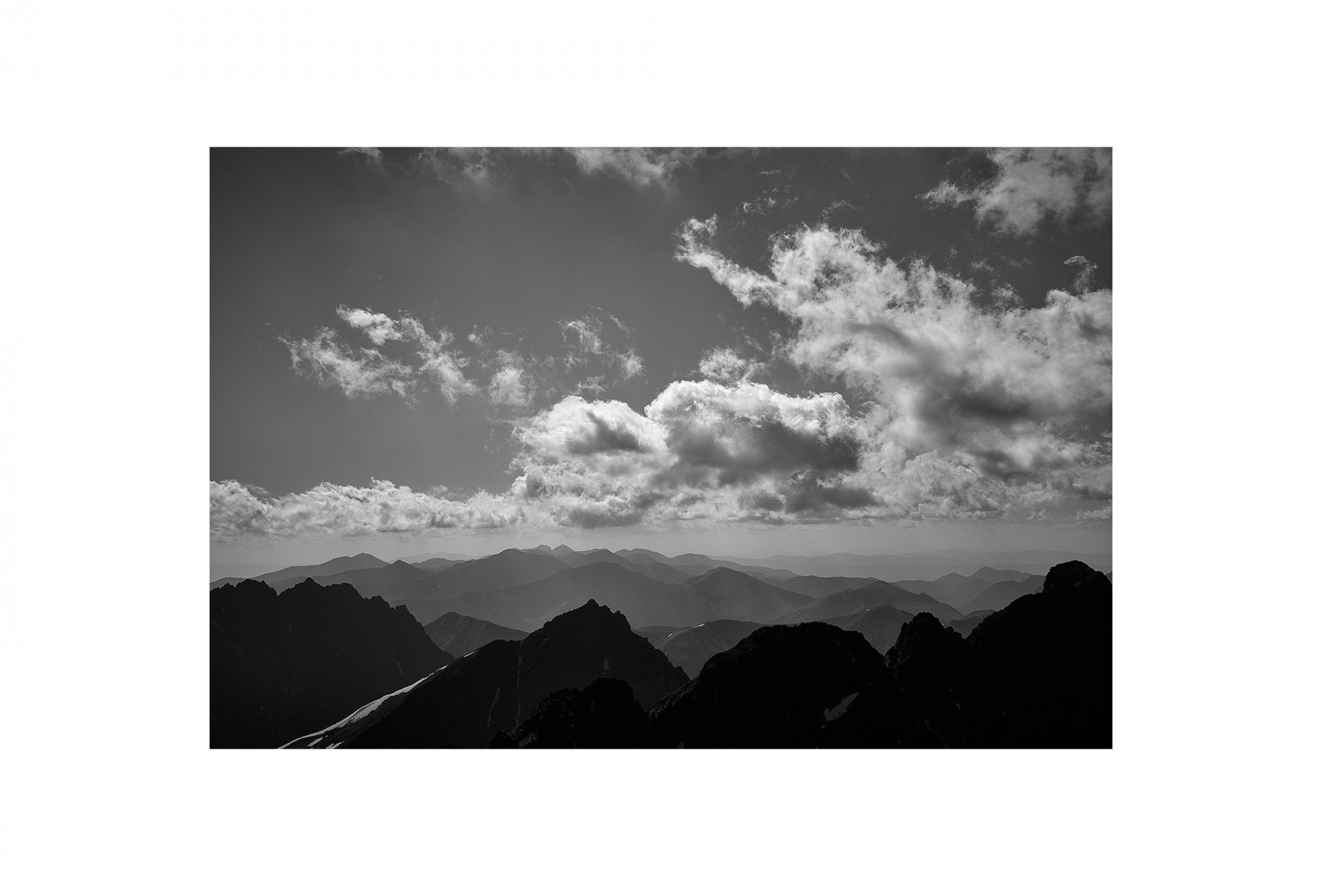 Afbeelding: Landscape high Tatras mountains Poland, foto Van Huffel, foto kunst zwart wit, landschapsfotografie.