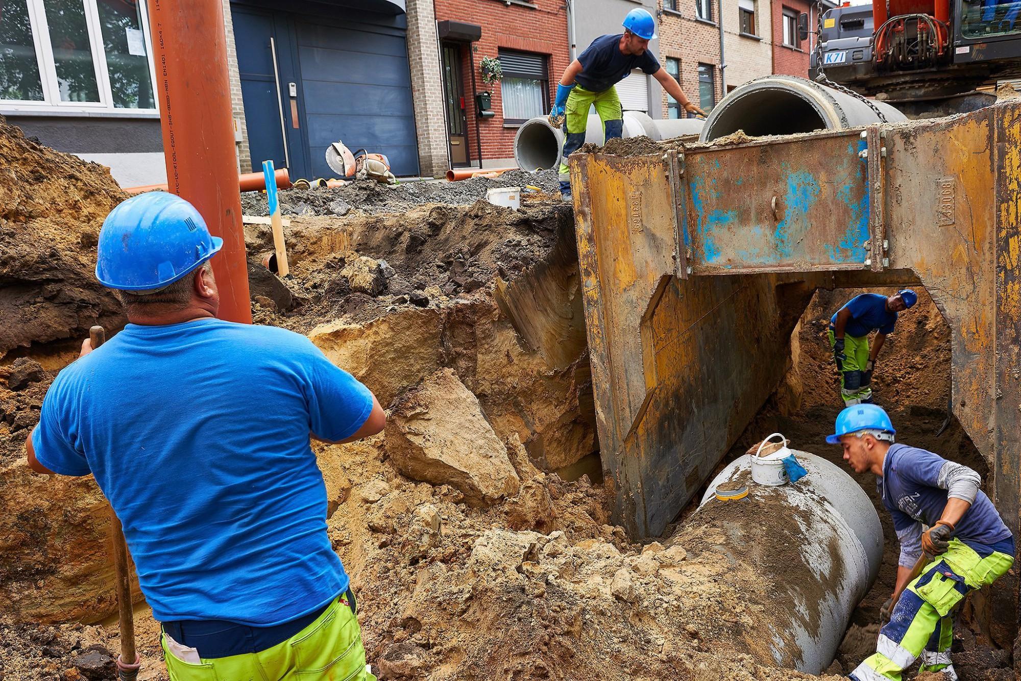 Afbeelding: Werf fotografie aanleg infrastructuur-riolering voor DCA.