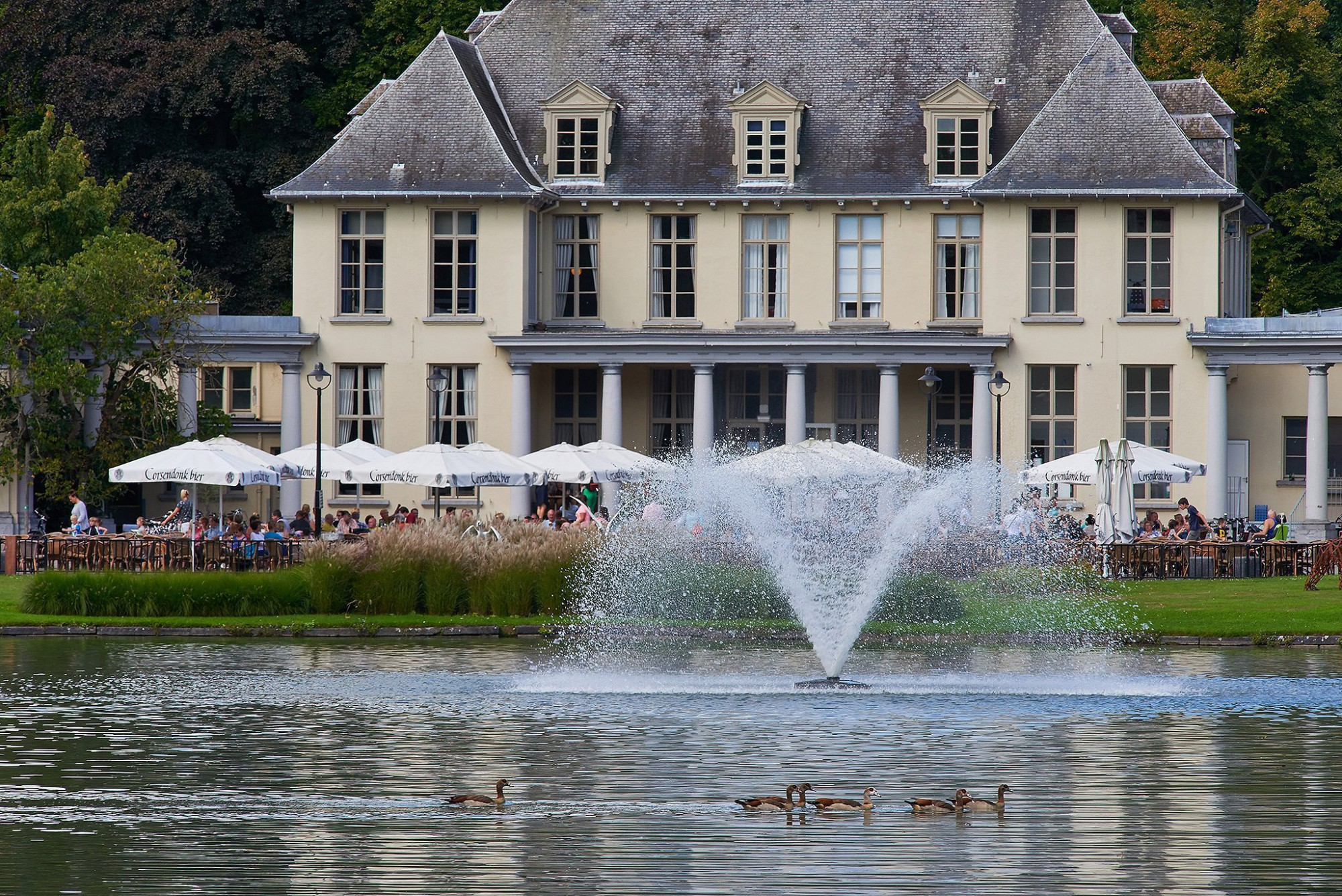 Afbeelding: Fotografie waterpartij - fontein in het Rivierenhof te Deurne © De Hofleverancier, foto Van Huffel.