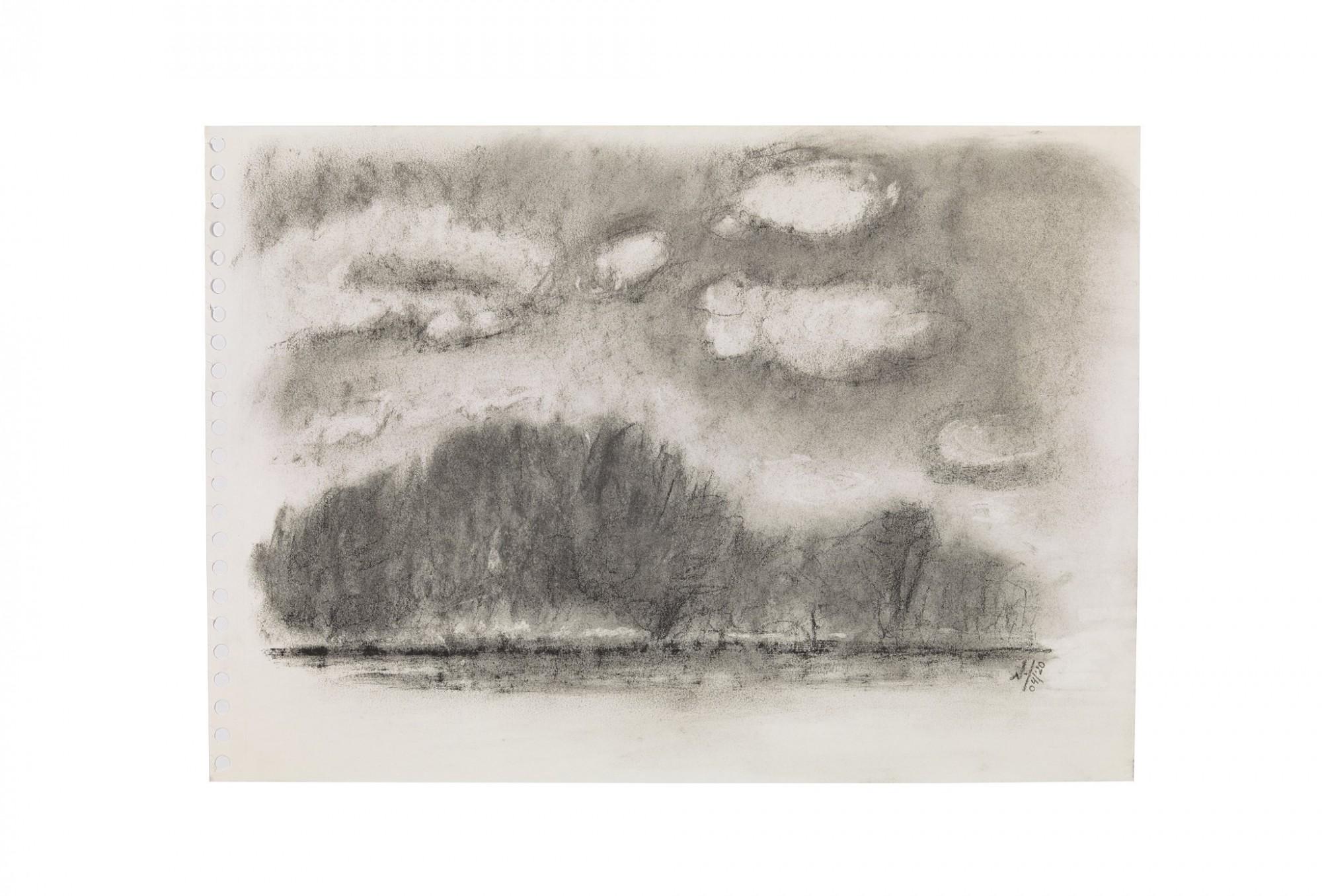 Afbeelding: Houtskooltekening H26_04_2020_C - Wolken en wilgen - Wortel
